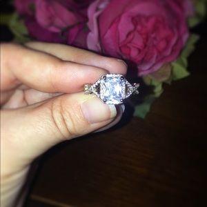 Jewelry - Emerald Cut, Criss Cross S925 Stamped Wedding Ring